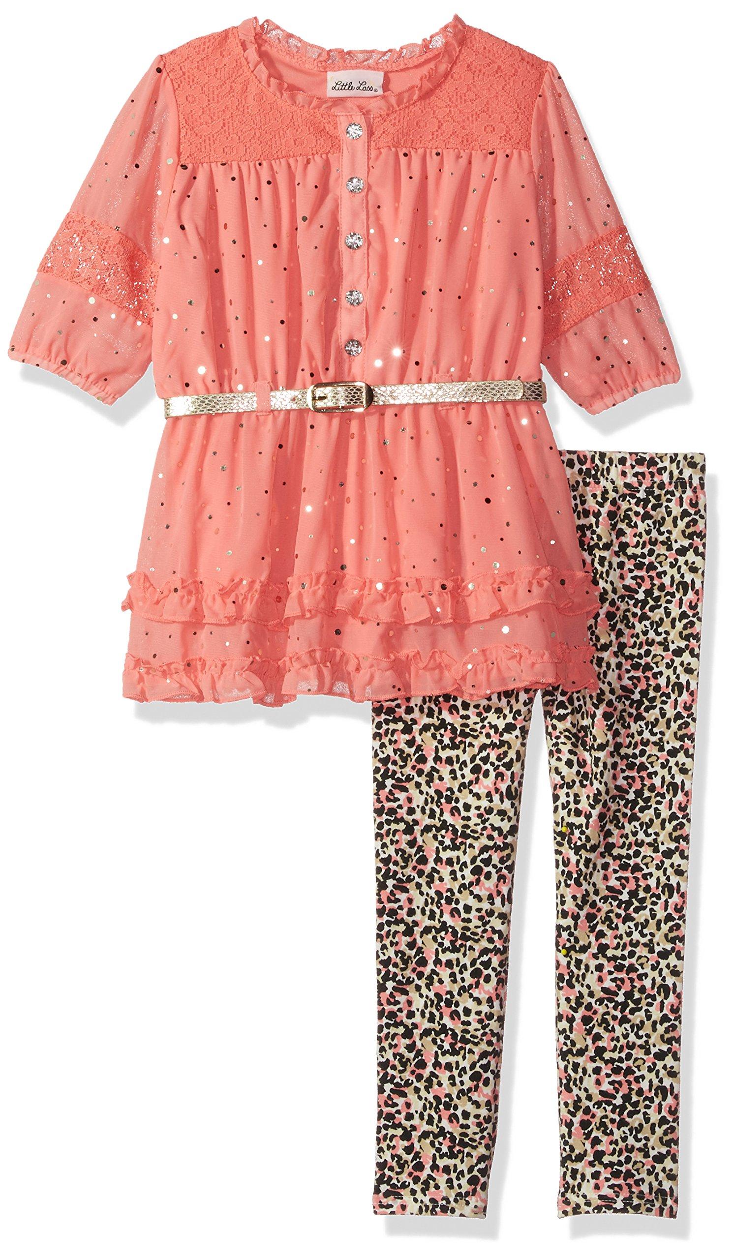 Little Lass Toddler Girls' 2 Pc Leopard Legging Set Glitter, Salmon, 4T