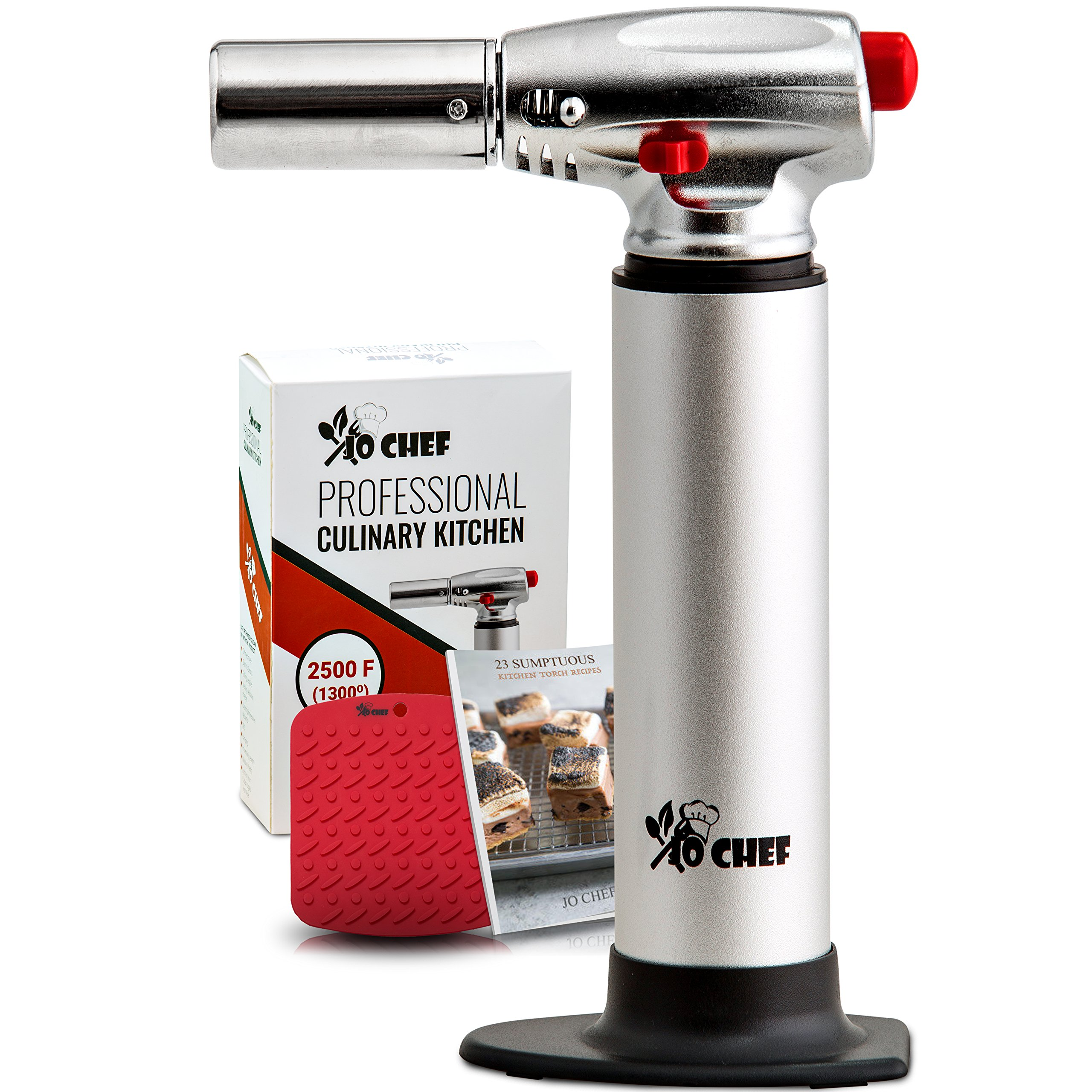 Jo Chef Professional Culinary Torch - Aluminum Refillable Crème Brulee Blow Torch - With Adjustable Flame - Perfect for Cooking, Baking, Crafts, BBQs - FREE Heat Resistant Place Mat + Recipe eBook