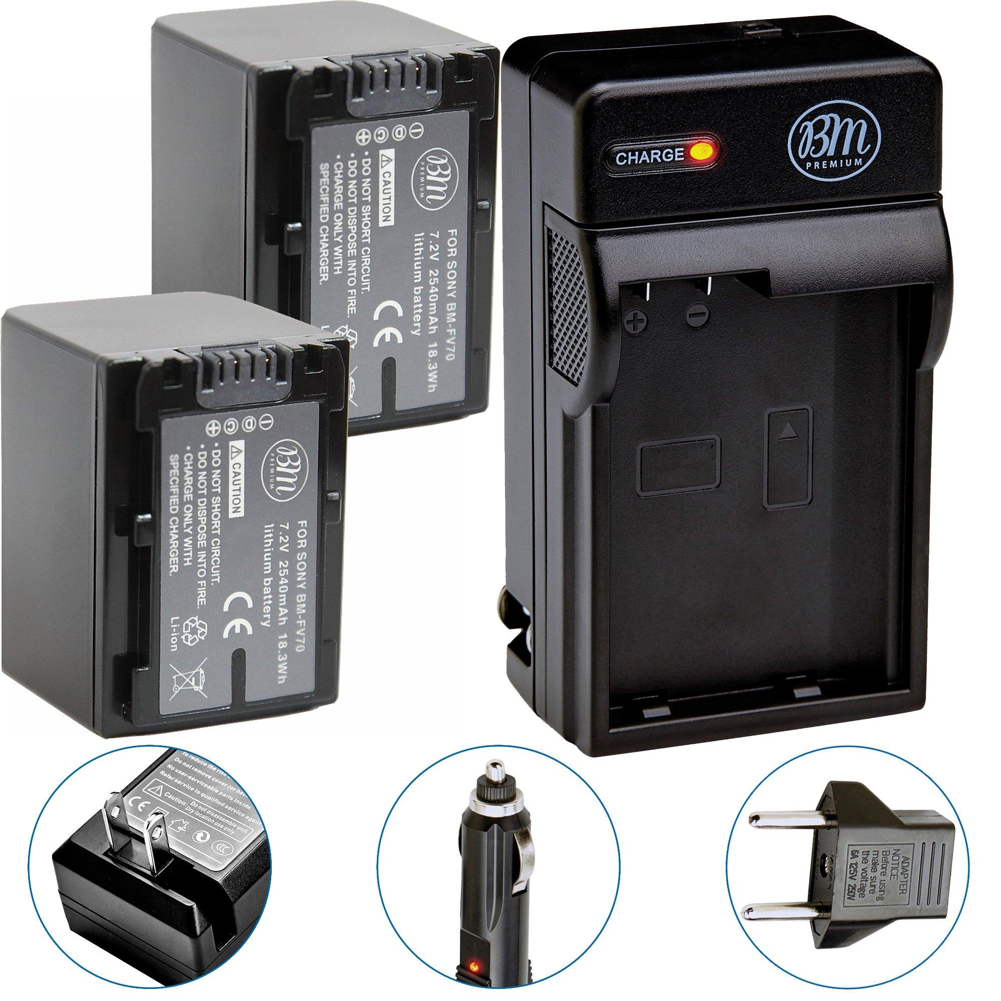 Pack Of 2 NP-FV70 Batteries & Battery Charger Kit for Sony HDR-CX190 HDR-CX200 HDR-CX210 HDR-CX220 HDR-CX230 HDR-CX260V HDR-CX290 HDR-CX380 HDR-CX430V HDR-CX580V HDR-CX760V HDR-PJ230 HDR-PJ380 HDR-PJ430V HDR-PJ580V HDR-PJ650V HDR-PJ710V HDR-PJ760V HDR-PV7