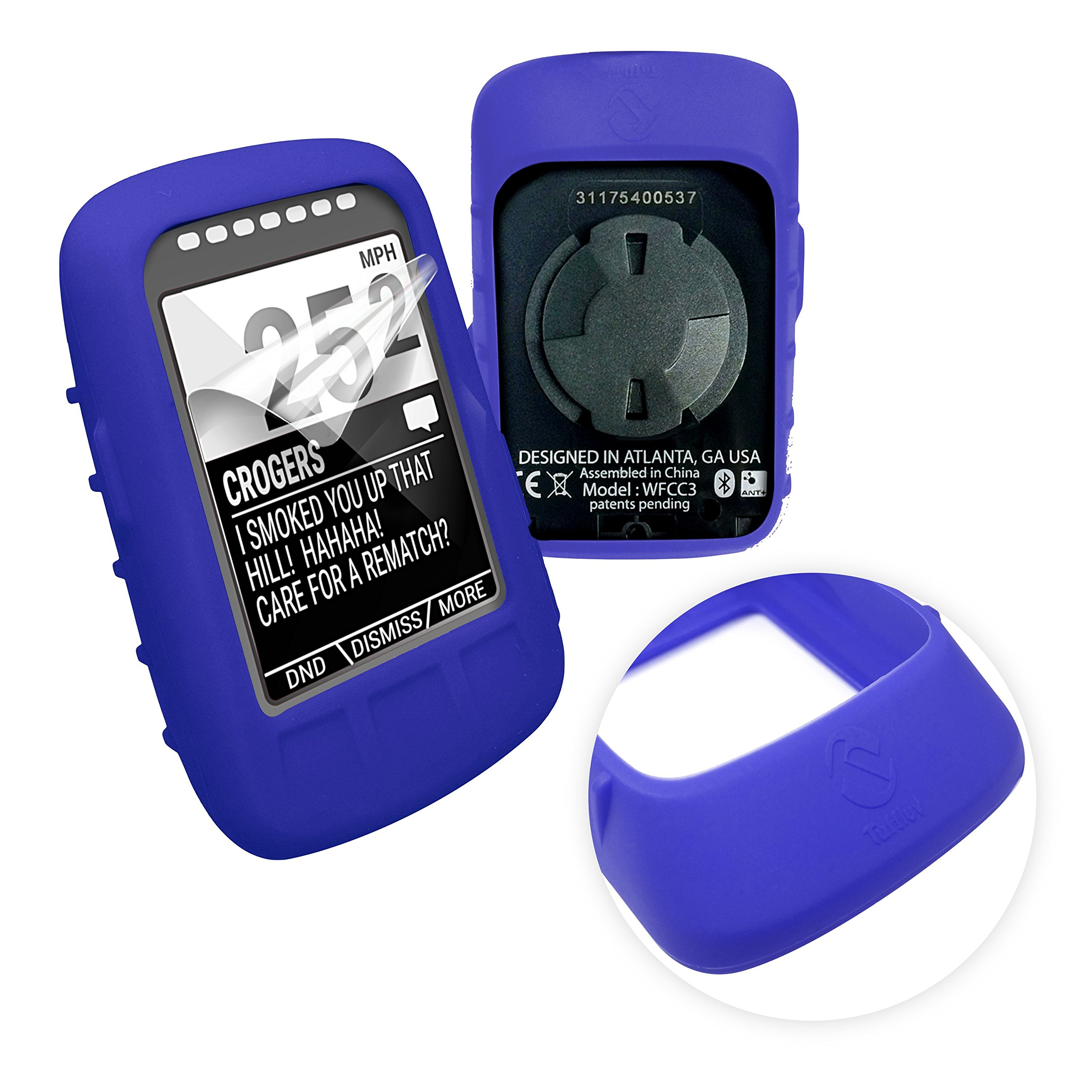 Tuff-luv Silicone Gel Skin Case & Screen Cover Protection for Wahoo Elemnt Bolt - Blue