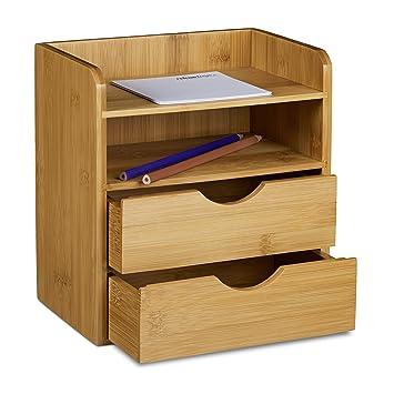 Relaxdays Organizador para Escritorio Hecho de bambú 21 x 20 x 13 cm Espacio de Almacenamiento con 2 cajones, Color Natural, marrón