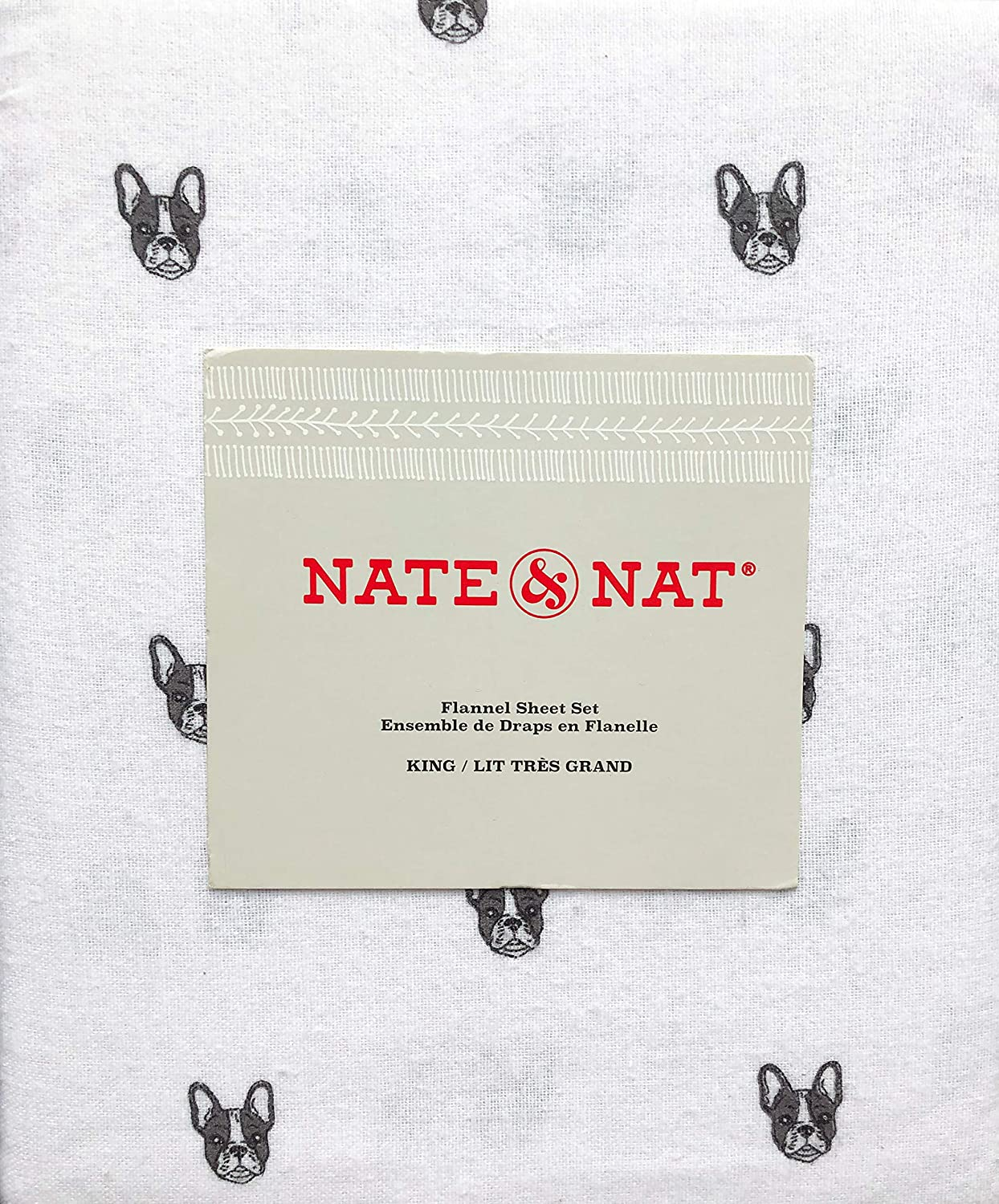 Amazon Com Nate Nat 4 Piece Cotton Flannel King Size Sheet Set Frenchies Puppy Dog Faces Home Kitchen
