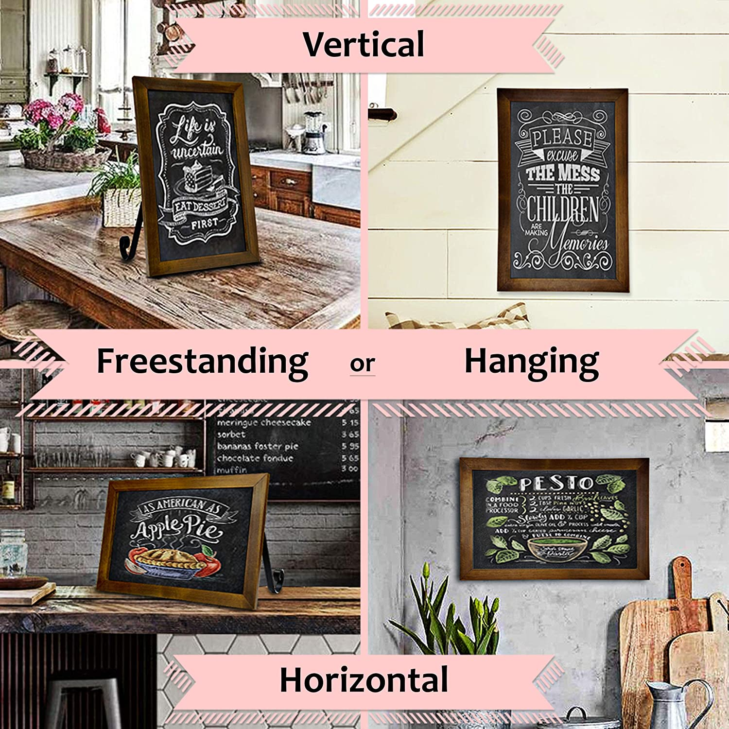 TenXVI Designs 11x13 Hanging or Freestanding Vertical or Horizontal Magnetic Rustic Bulletin Board or Chalkboard Sign for Tabletops Farmhouses Restaurants and Home Decor /Ð Black Weddings