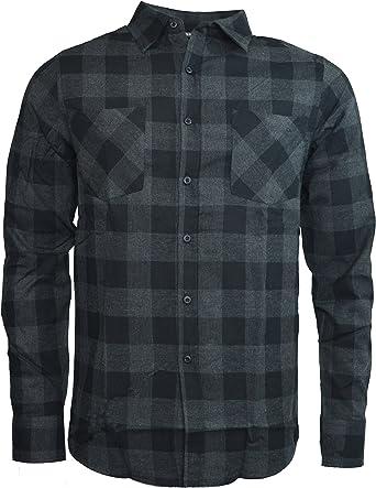 Last King - Camisa casual - Cuadrados - Cuello redondo - para ...