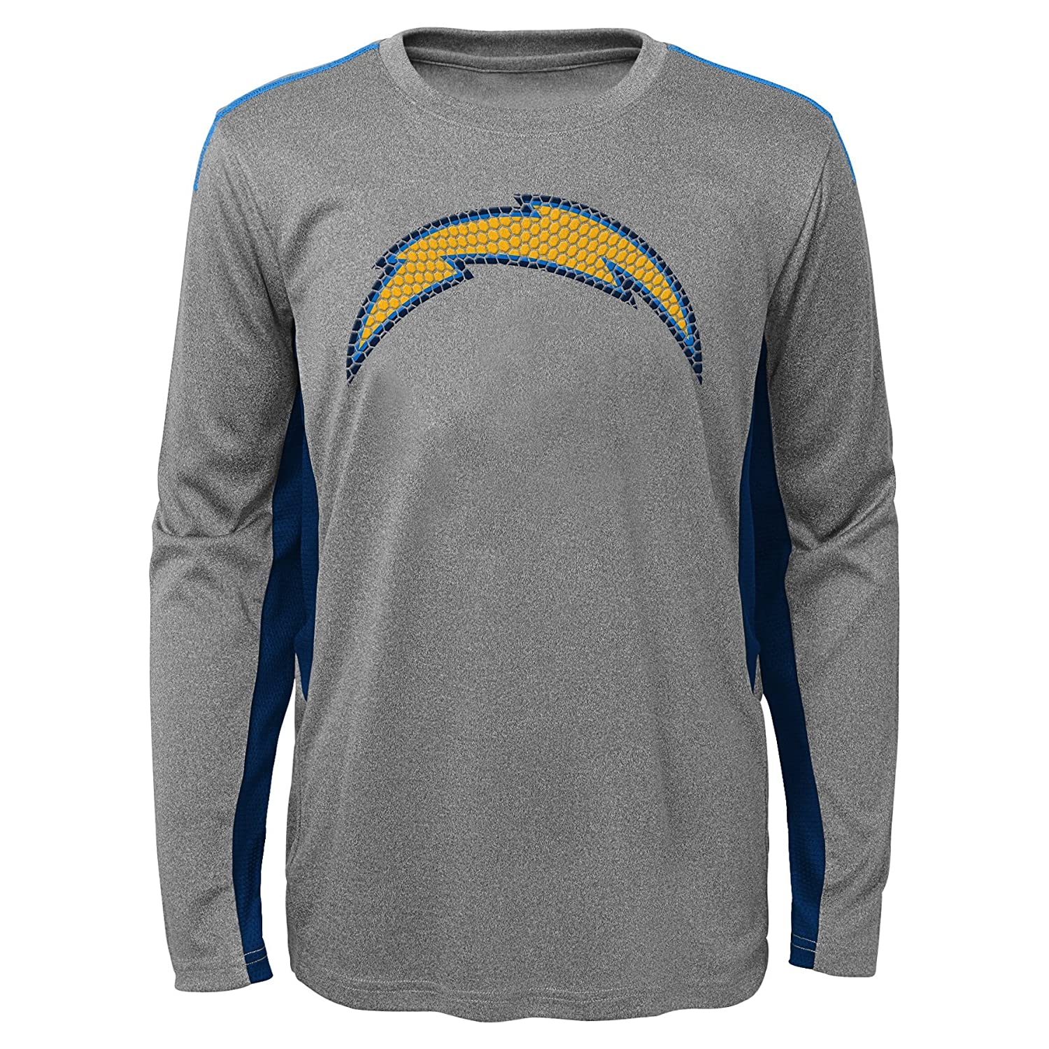 10-12 Outerstuff NFL Youth Boys Mainframe Long Sleeve Performance Tee-Light Charcoal-M Los Angeles Chargers