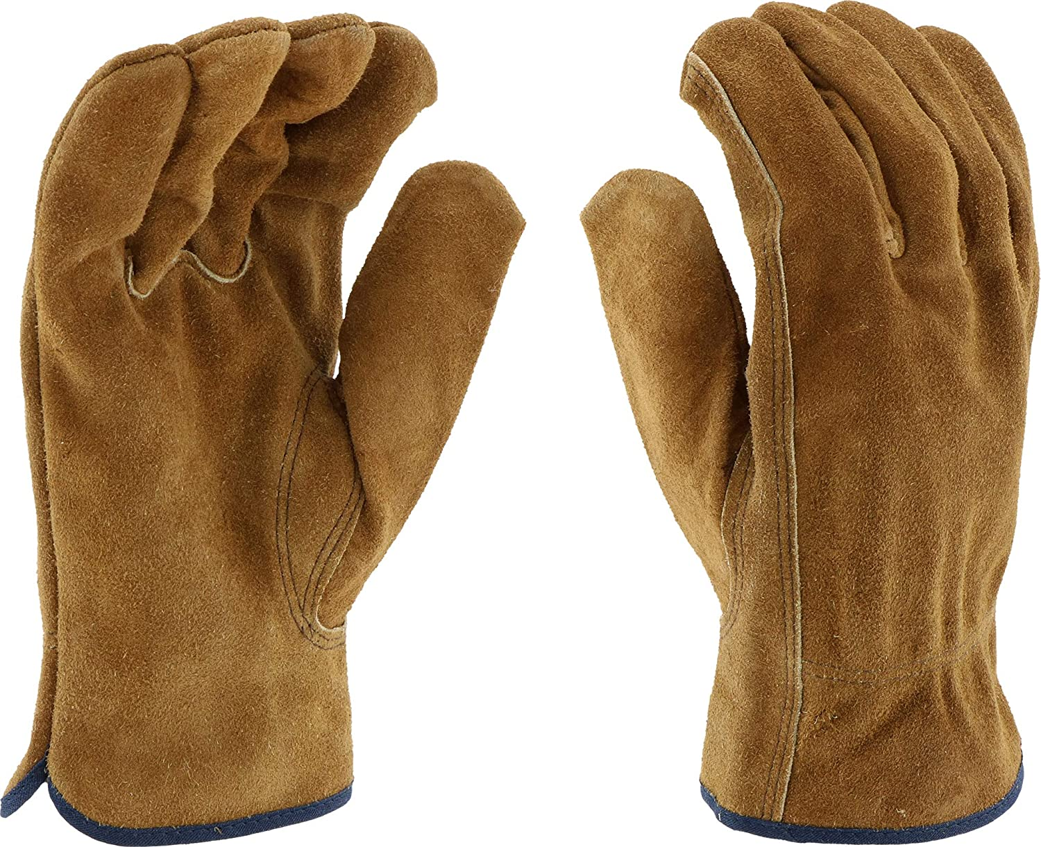 West Chester 81456 Split Cowhide Leather Unlined Driver Glove, Work, Shirred Elastic Wrist Cuff, Medium, Brown (Pack of 1 Pair) Westchester 81456-M