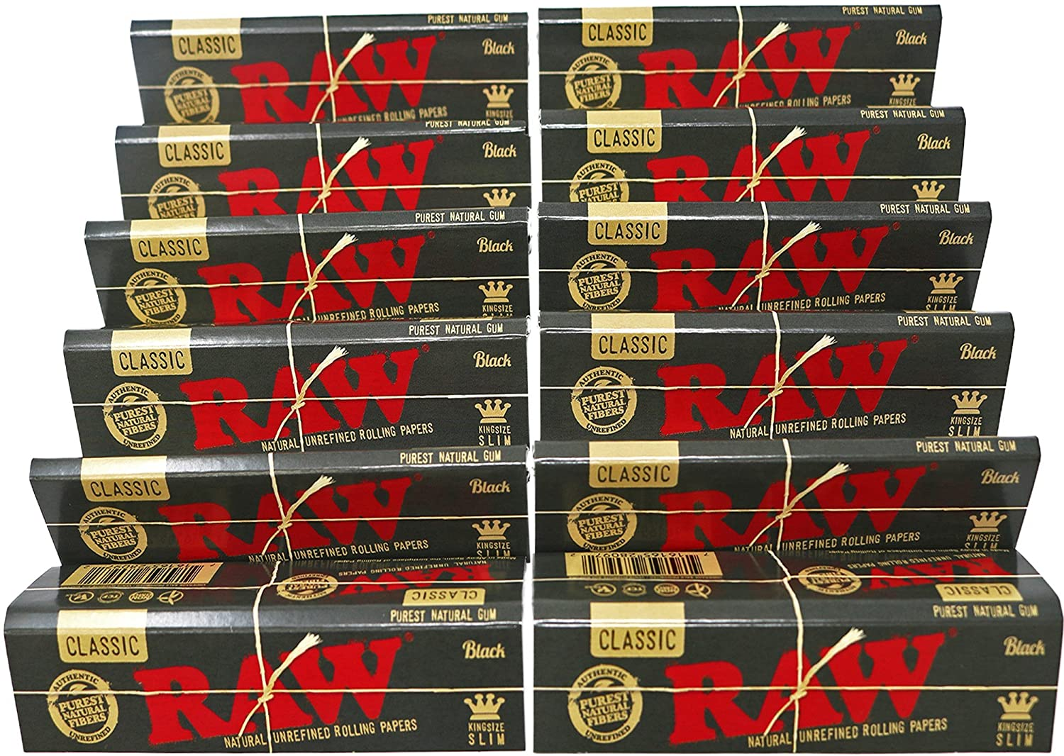 Raw Black King Size Slim Natural Unrefined Rolling Papers 1 Pack 32 Leaves