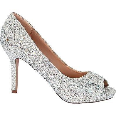 06db5ca9504 Lauren Lorraine Paula-2 Rhinestone Embroidered Peep Toe Silver Sparkle Pumps  (5)