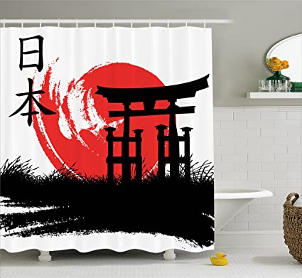 Lunarable Japan Shower Curtain By Mystical Historical Architecture Artistic Brushstrokes Religion Heritage Fabric Bathroom