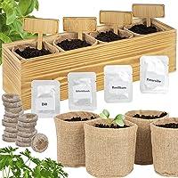 ONVAYA® Kit de Cultivo de Hierbas con Caja de Madera | Kit de Cultivo | Mini jardín de Hierbas | Juego de jardín de…