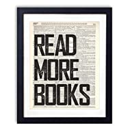 Read More Books Typography Upcycled Vintage Dictionary Art Print 8x10