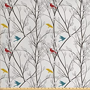 Ambesonne Nature Fabric by The Yard, Birds Wildlife Cartoon Like Image with Tree Leaf Art Print, Decorative Fabric for Upholstery and Home Accents, 1 Yard, Mustard Maroon