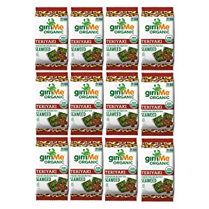 gimMe Organic Roasted Seaweed Sheets - Teriyaki - 12 Count Sharing Packs - Keto, Vegan, Gluten Free -Great Source of Iodine and Omega 3's - Healthy On-The-Go Snack for Kids & Adults