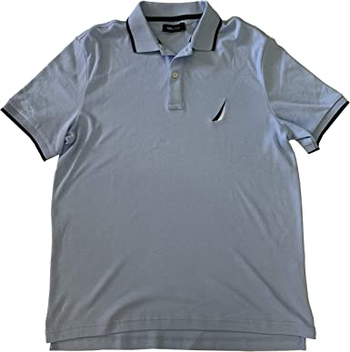 Nautica Mens Classic Fit Interlock Short Sleeve Polo Shirt (Noon ...