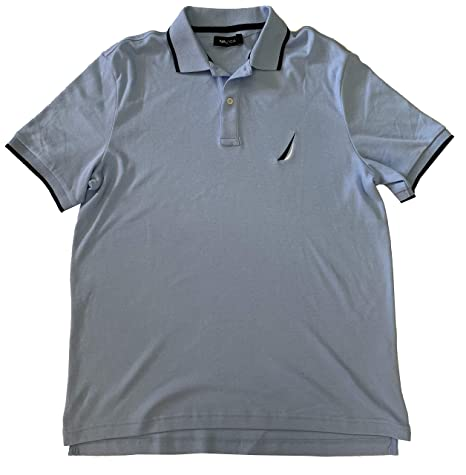 Nautica Mens Classic Fit Interlock Short Sleeve Polo Shirt (Noon ...