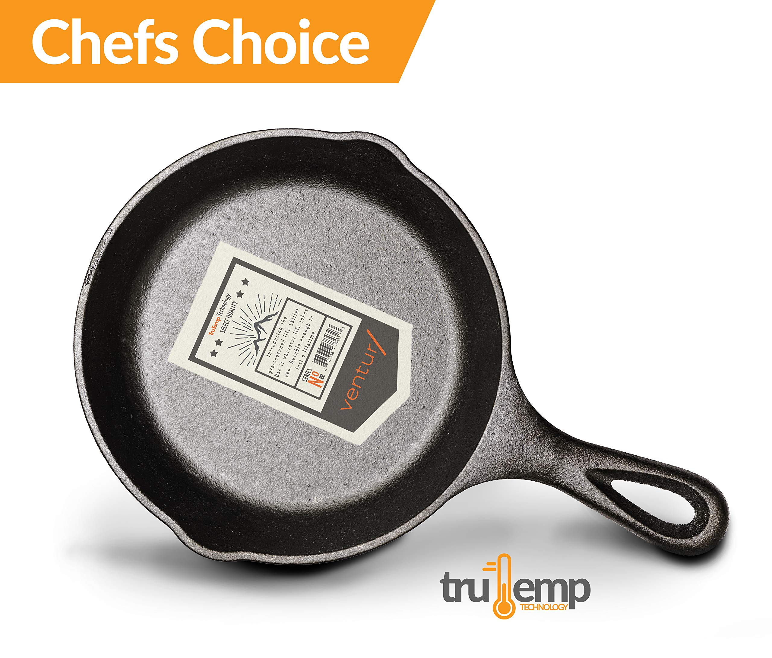 Ventur/ 8 Inch Mini Cast Iron Skillet Pre-Seasoned with TruTemp Technology   Indoor and Outdoor Use   Grill, Stovetop, Induction Safe