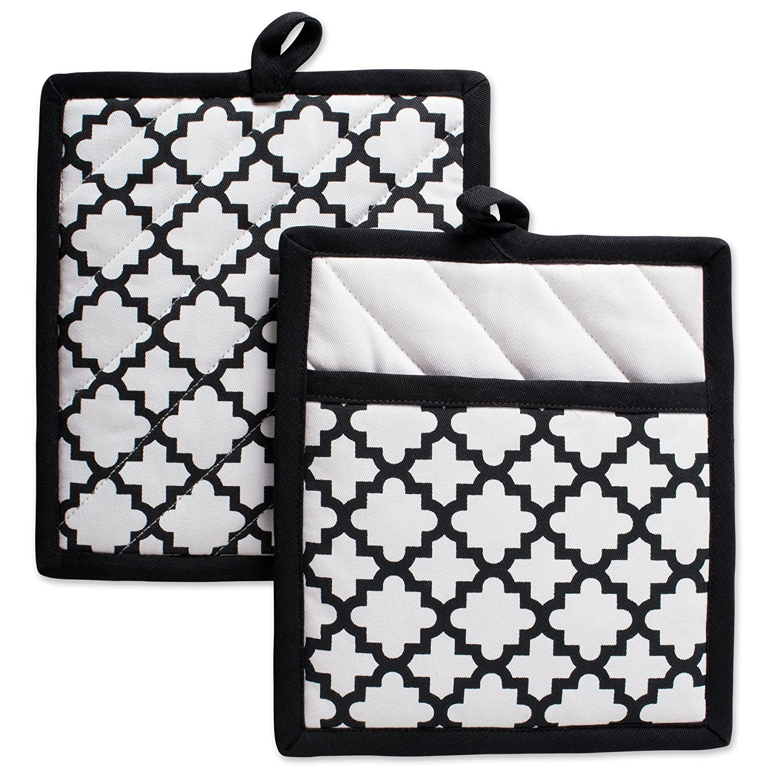 """DII Cotton Lattice Pot Holders, 9 x 8"""" Set of 2, Machine Washable and Heat Resistant Hot Pad for Everyday Kitchen Cooking & Baking-White"""