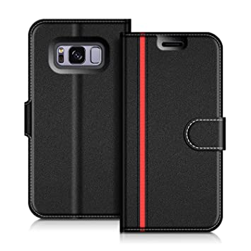 COODIO Funda Samsung Galaxy S8 con Tapa, Funda Movil Samsung S8, Funda Libro Galaxy S8 Carcasa Magnético Funda para Samsung Galaxy S8, Negro/Rojo