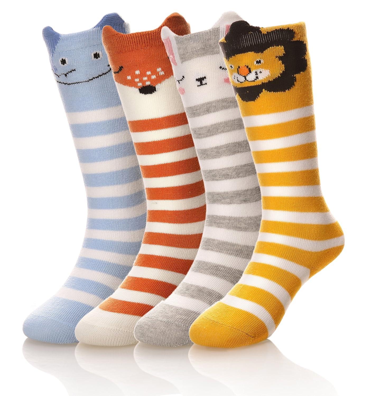 MIUBEAR 3-6 Pack Toddler Knee High Socks, Super Cute Cartoon Animal Cotton Socks For Baby Boys Girl 0-3 Years Old