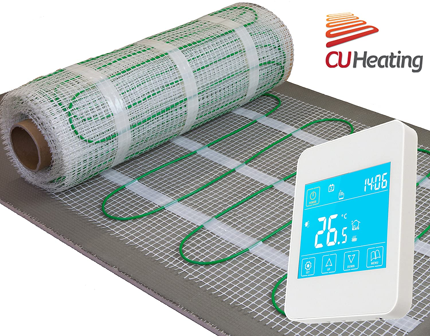 Electric underfloor heating Kit, 160W/m2 with touch screen thermostat **ALL SIZES** LIFE TIME WARRANTY! CU Heating