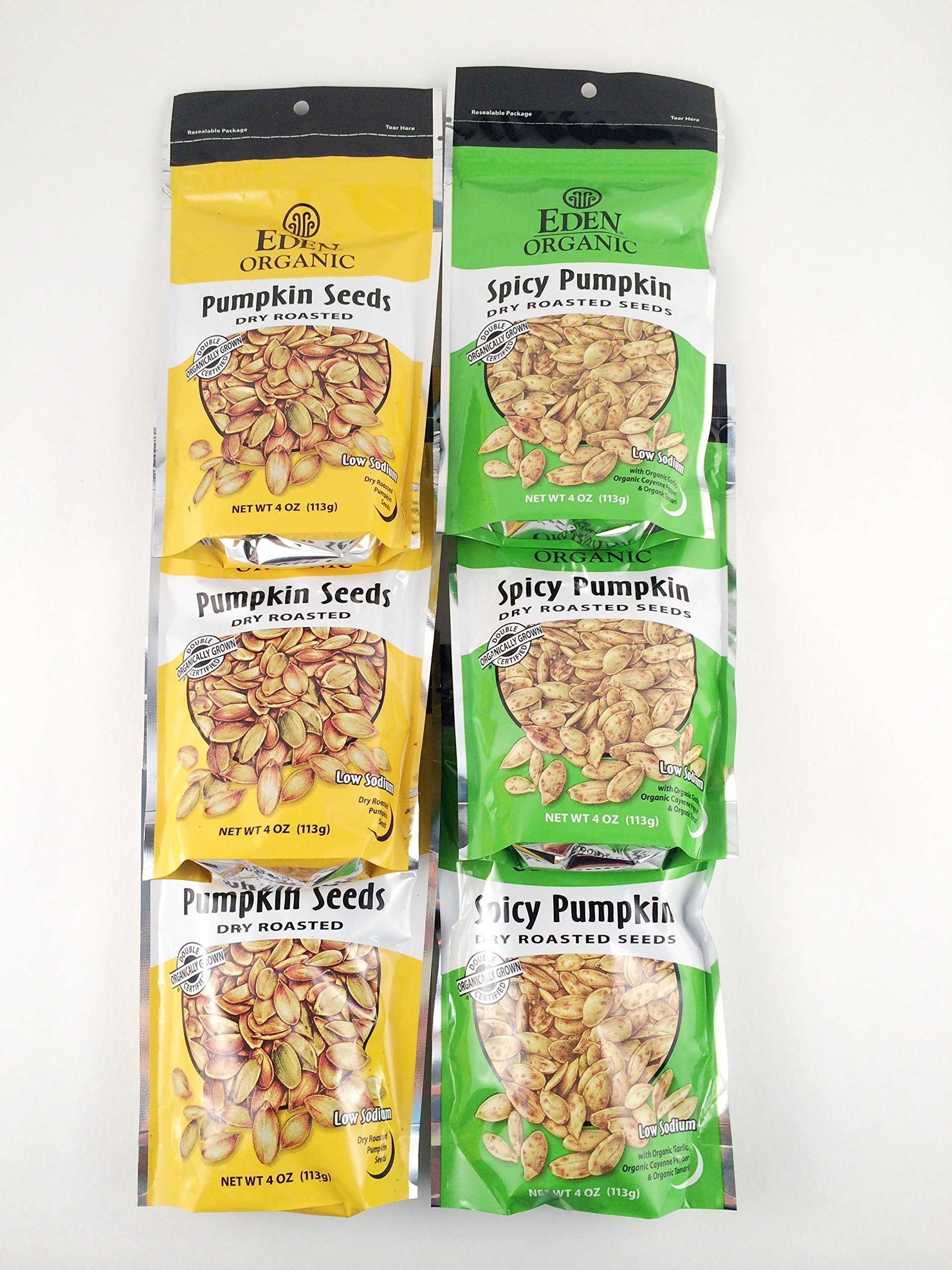 Eden Organic Dry Roasted Pumpkin Seed Sampler - Six 4 Oz. Pouches