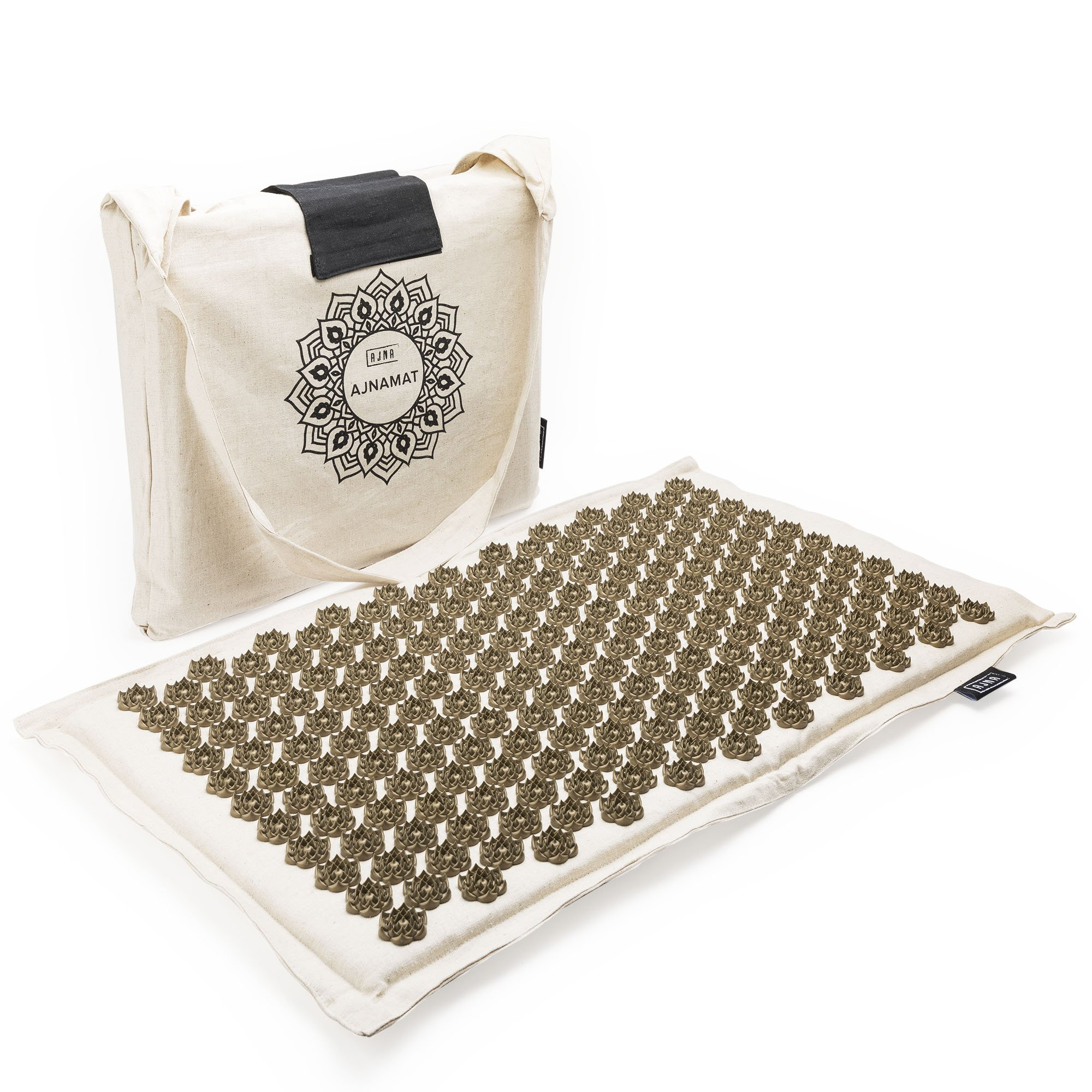 Eco Acupressure Massage Mat Natural Linen Cotton | Acupuncture Mats for Neck, Back, Reflexology, Sciatica, Trigger Point and Massage Therapy, Manual Massage | Stress Relief Pad with Free Carry Bag