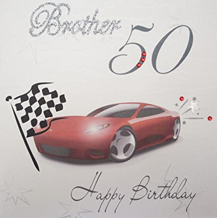 WHITE COTTON CARDS 50 Happy Handmade 50th Birthday Card Brother Racing Car Amazoncouk Kitchen Home