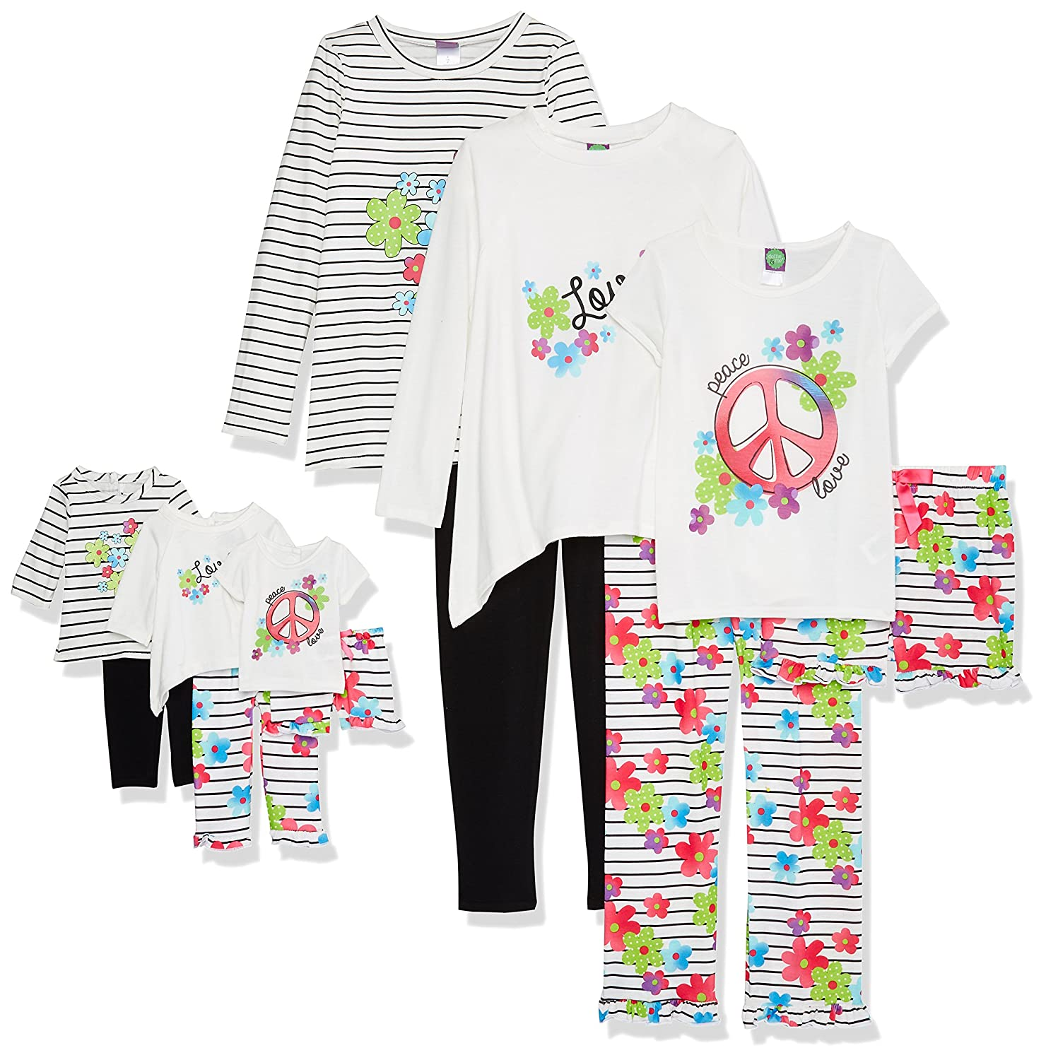 Dollie /& Me Girls Big 6 Pc Knit Multi Wear Set with Doll Outfits