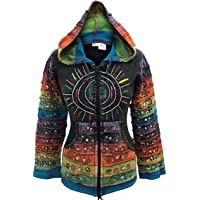 Shopoholic Fashion Women's Sun Patchwork Pixie Hippy Ribs Hoodie Faded Jacket