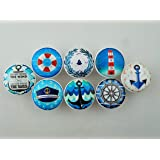 Set of 8 Blue and White Nautical Cabinet Knobs