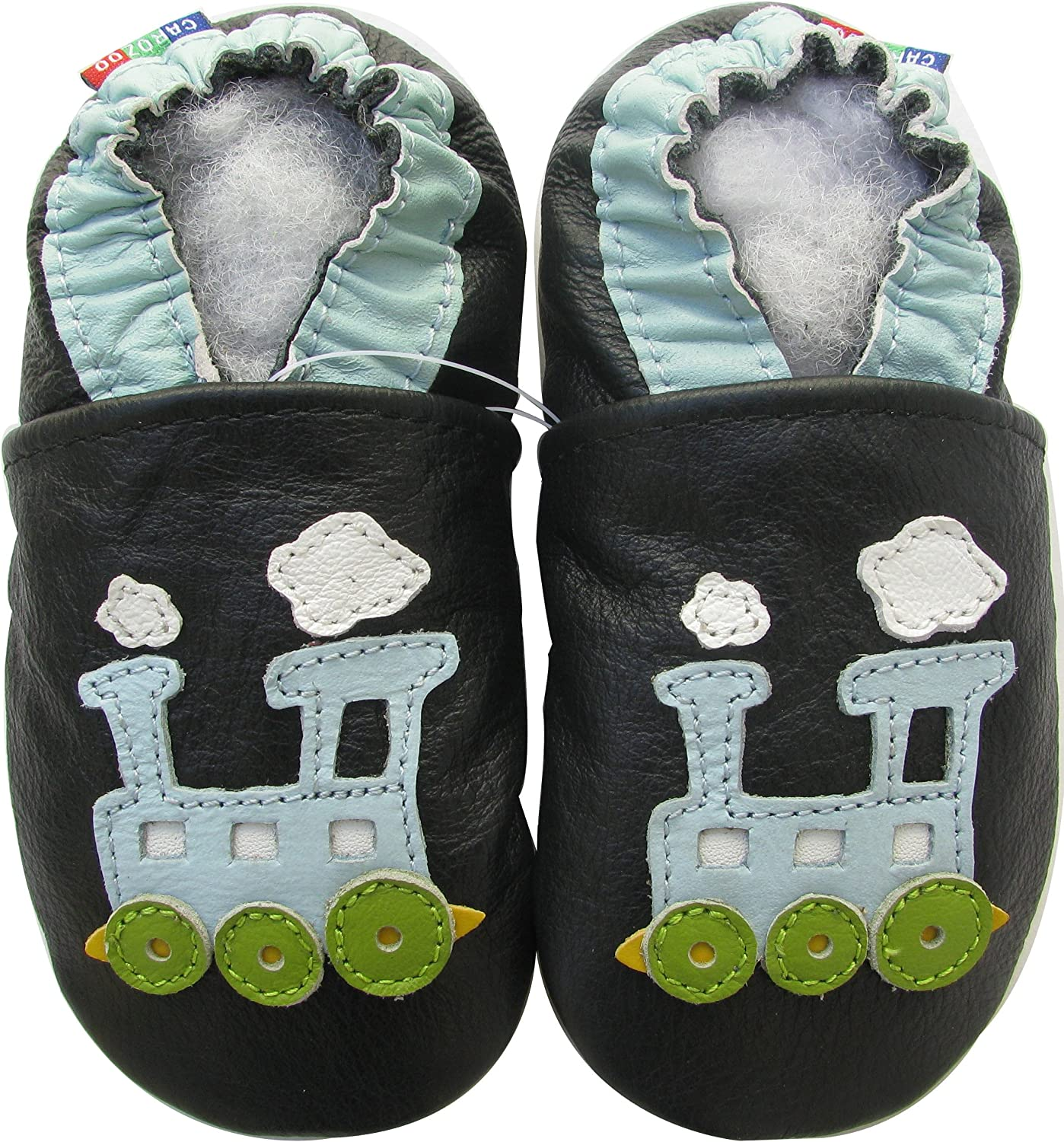 shoeszoo cow green 3-4y S soft sole leather toddler shoes