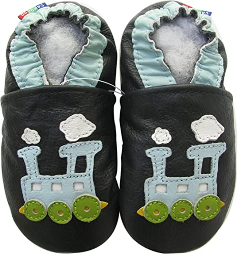 carozoo fire dragon black 3-4y soft sole leather baby shoes