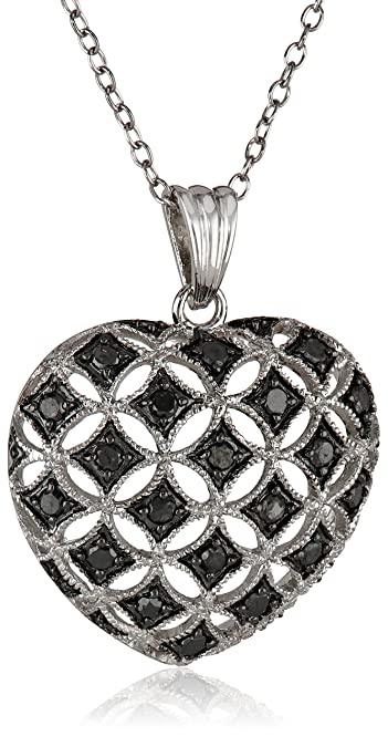 Amazon sterling silver black diamond heart pendant necklace sterling silver black diamond heart pendant necklace 50 cttw 18quot aloadofball Image collections