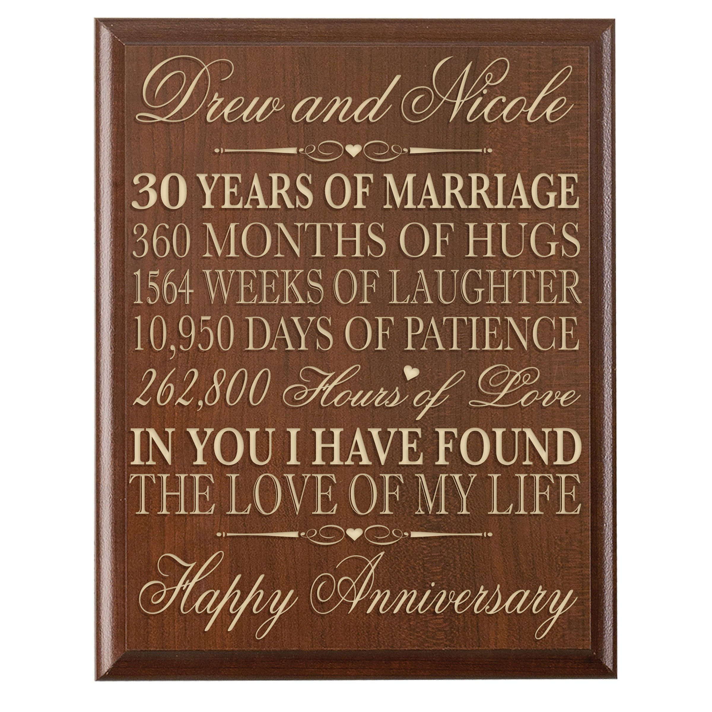 LifeSong Milestones Personalized 30th Wedding Anniversary Gift for Couple, Custom Made 12 Inches Wx 16 Inches H (Cherry)