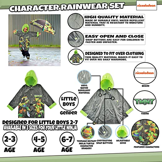 Nickelodeon Little Boys TMNT Slicker and Umbrella Rainwear Set, Black/Green, Age 2-7