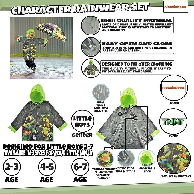 Amazon.com: Nickelodeon TMNT - Juego de ropa de lluvia para ...