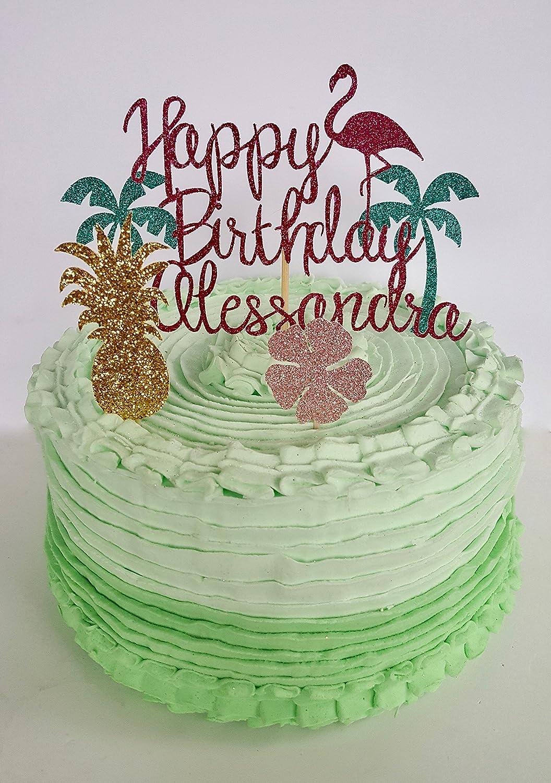 Hawaiian Flamingo Birthday Cake Topper