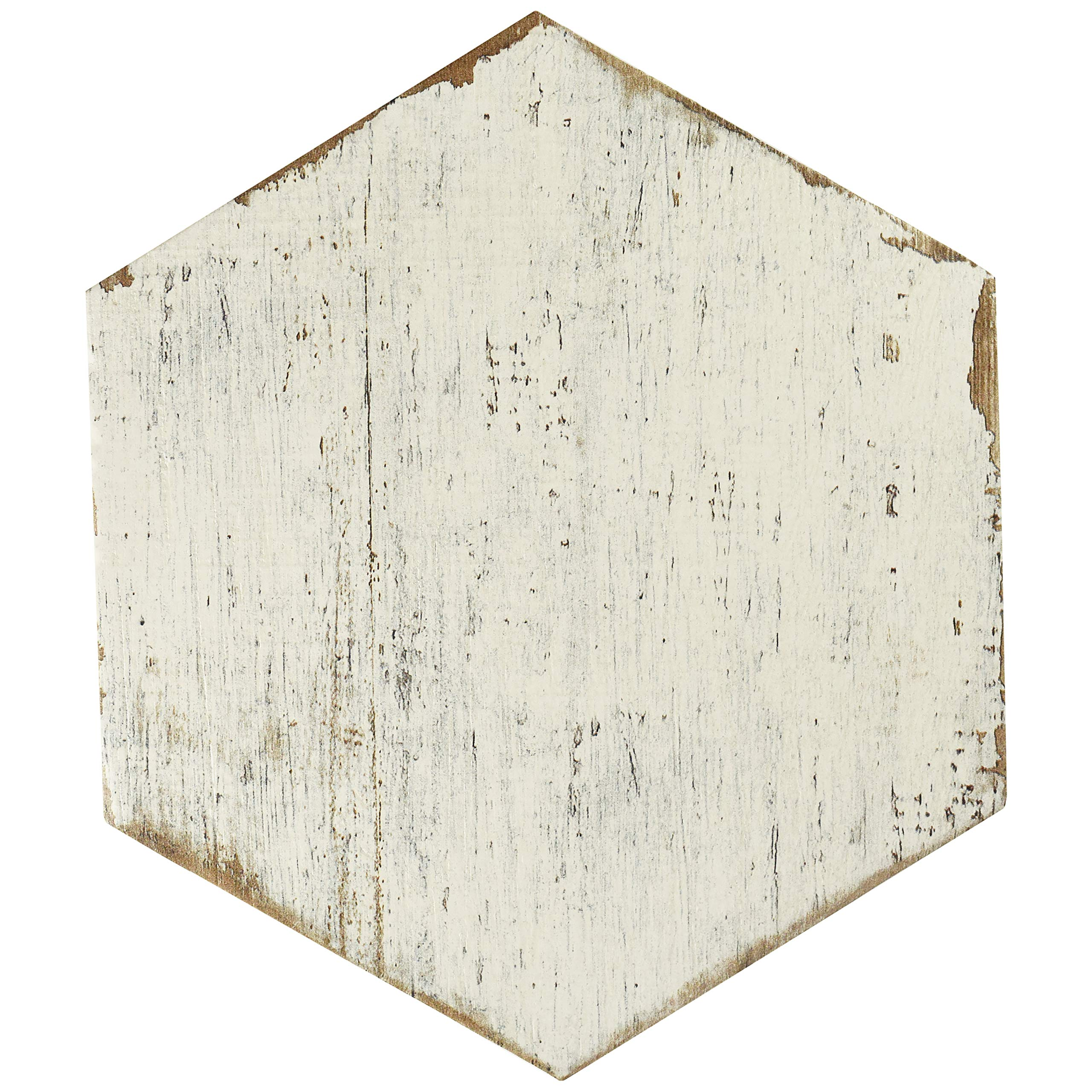 SomerTile FNURTXBL Vintage Hex Porcelain Floor and Wall Tile, 14.125'' x 16.25'', White/Brown