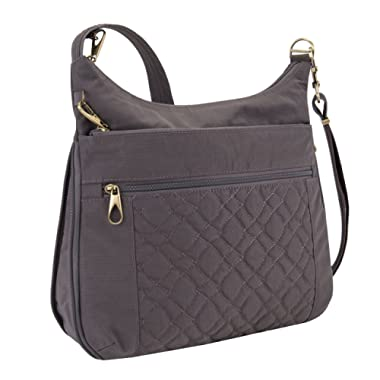 Travelon Anti-theft Signature Quilted Expansion Cross Body Bag, Smoke