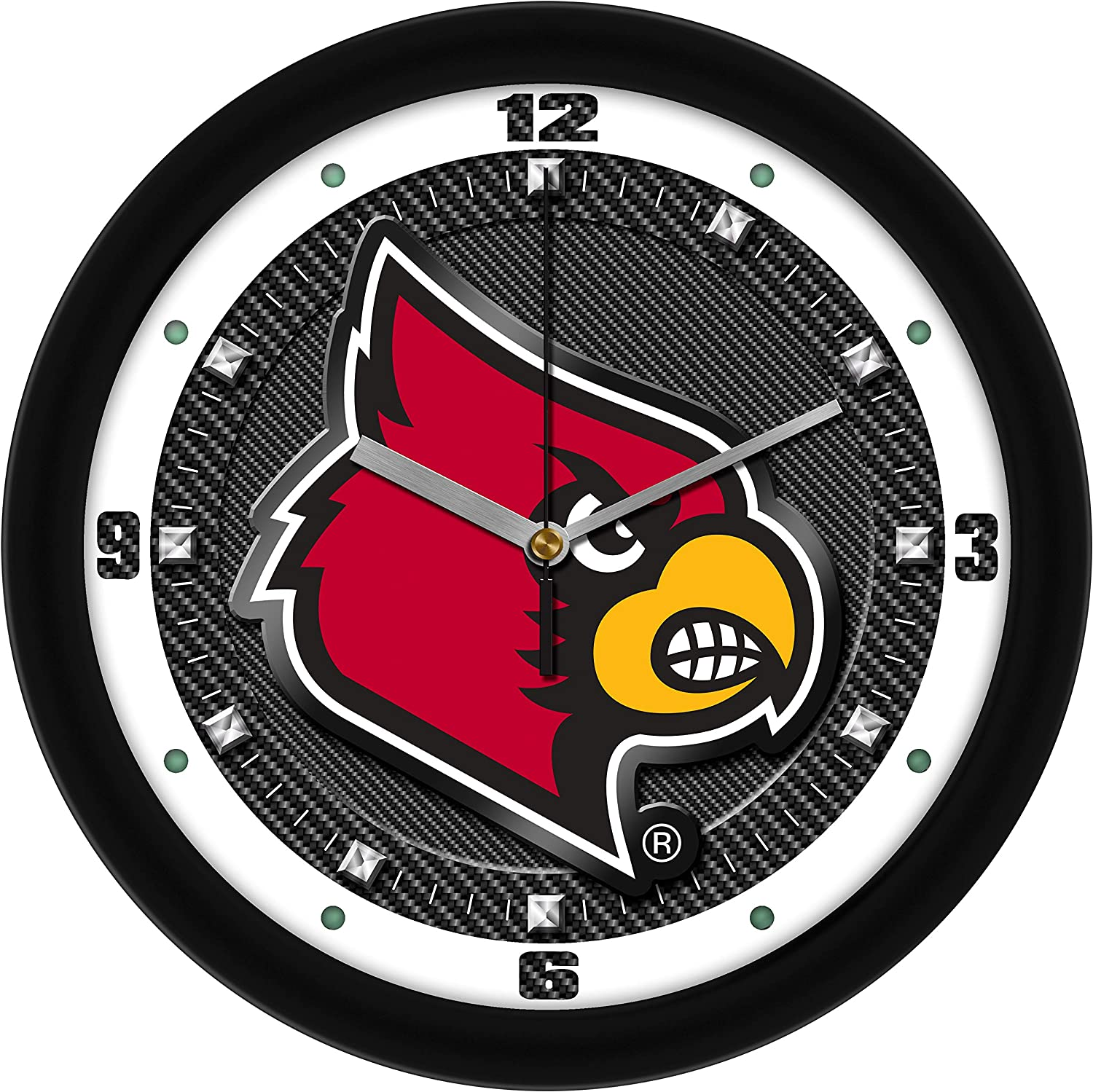 SunTime Louisville Cardinals - Carbon Fiber Textured Wall Clock
