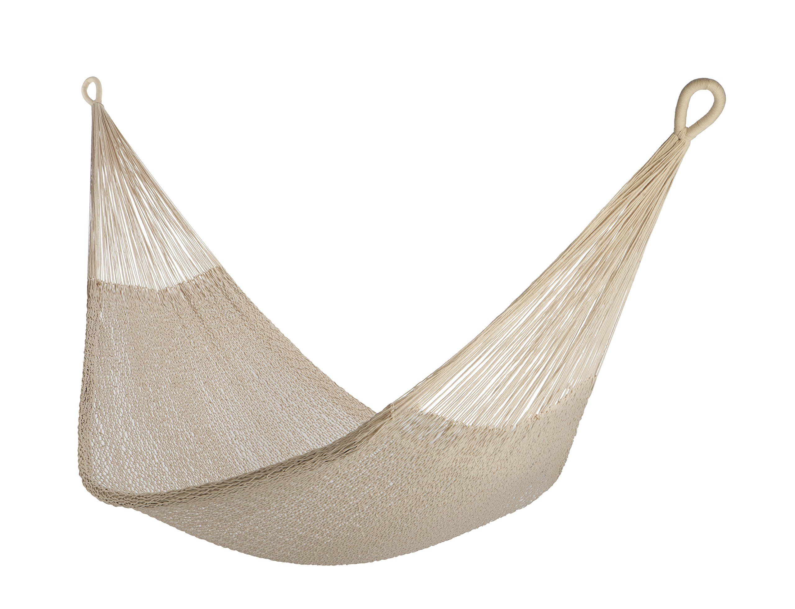 Yellow Leaf Hammocks MT Catalina Rope Hammock, Fits 1-2 people (400 lbs), Natural (Undyed) Cotton - 100% hand-woven with hand-dyed cotton rope Maximum Capacity: 400 lbs Optimal Hanging Distance: 9-12 ft - patio-furniture, patio, hammocks - 91htpJ5eIgL -