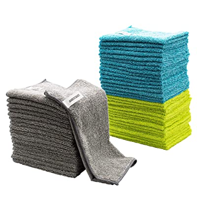 FIXSMITH Microfiber Cleaning Cloth - Pack of 50, Multi-Functional Cleaning Towels, Size: 12 x 16 in, Highly Absorbent Cleaning Rags, Lint-Free, Streak-Free Cleaning Cloths for Car Kitchen Home Office: Automotive