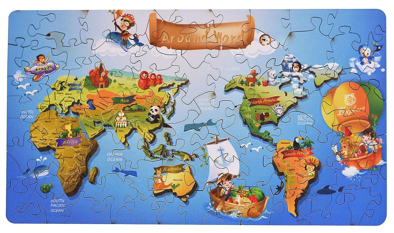 Amazon com: hartmaze Wooden Jigsaw Puzzles - Around World HM
