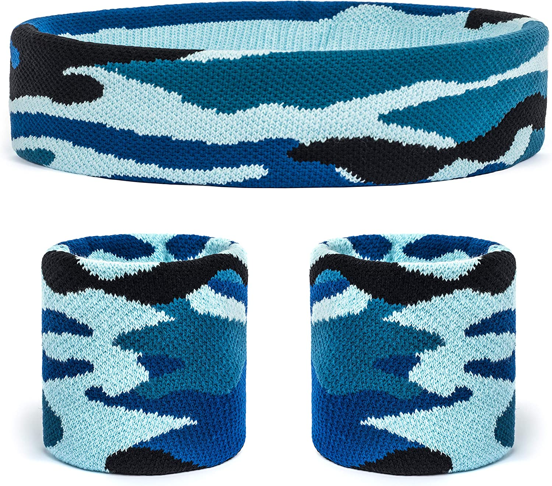 Suddora Camo HeadbandWrist Band Set Working Out Tennis Camouflage Sweatbands for Basketball Gym