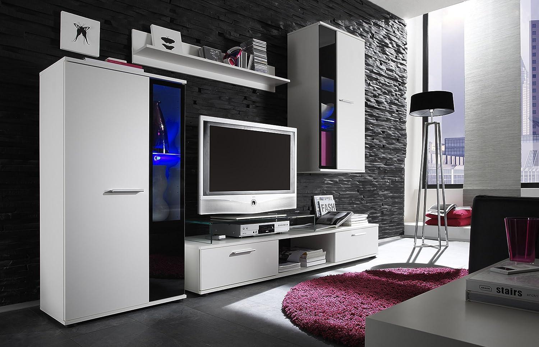 Composizione soggiorno moderno Queen, parete design, mobile bianco ...
