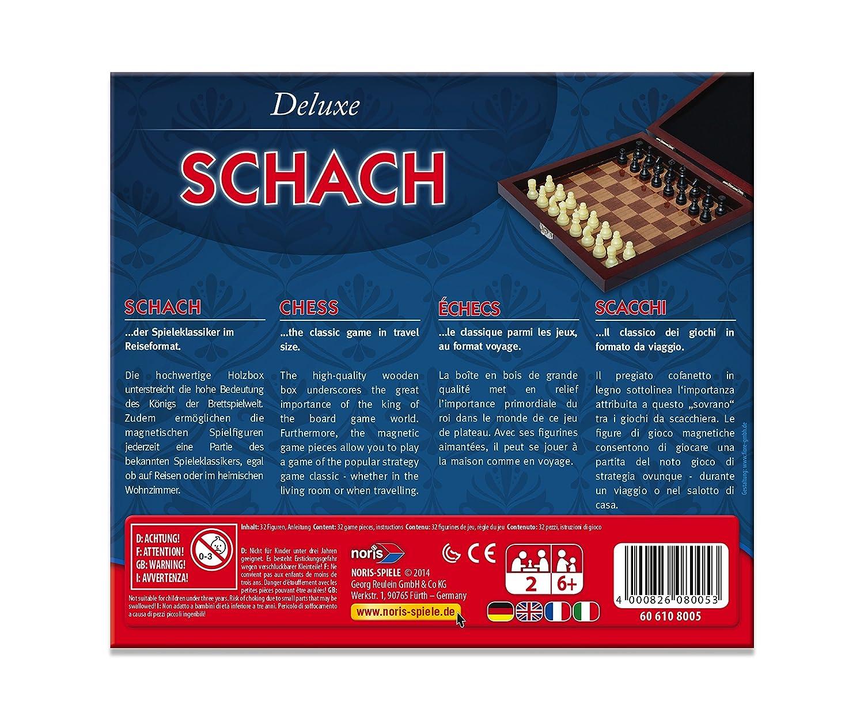 Noris Spiele 606108005 Lingua Tedesca Scacchi Deluxe Versione da Viaggio