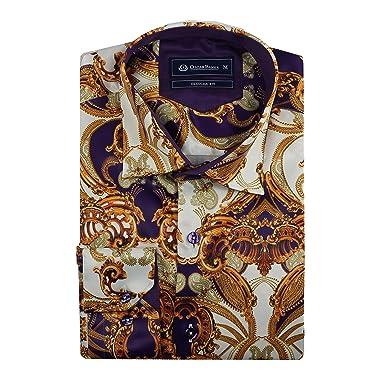 8cc9ce21c Oscar Banks Mens Gold Purple White Silk Feel Satin Paisley Baroque Print  Designer Dress Shirt[