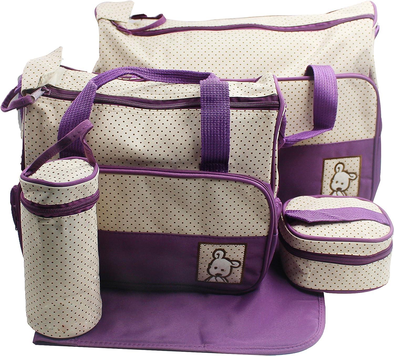 SORA H® kits Bolsa de Mama Para Bebe Biberon Bolso/Bolsa/Bolsillo Maternal Bebé para carro carrito biberón colchoneta comida pañal de color púrpura