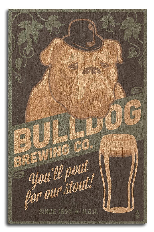 ブルドッグ – レトロスタウトビールAd 10 x 15 Wood Sign LANT-54877-10x15W 10 x 15 Wood Sign  B073662D77