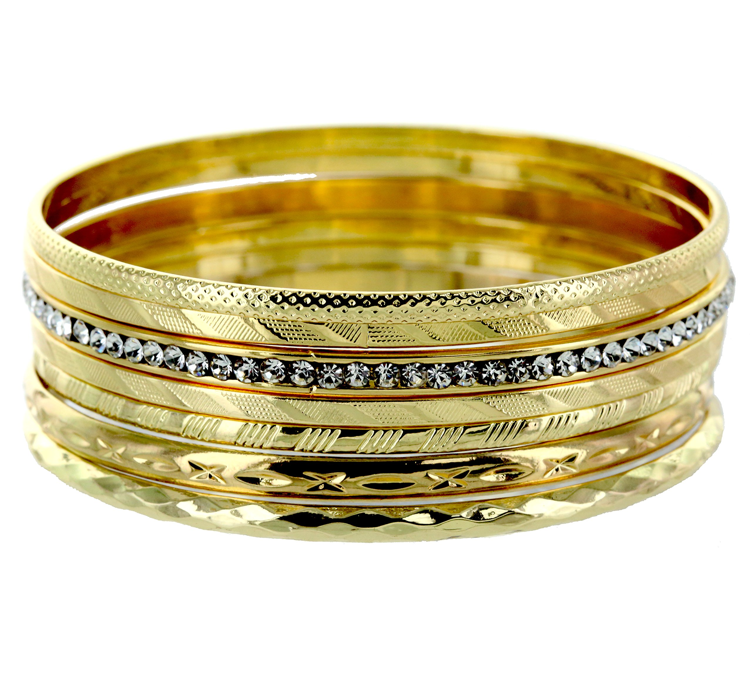 and lovely Plus Size Gold Plated Multi Textured and Rhinestone Sparkle Plus Size Bangle Bracelet - Set of 7